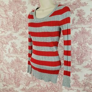 Pink Republic Sweater Striped S Thin Knit Ribbed